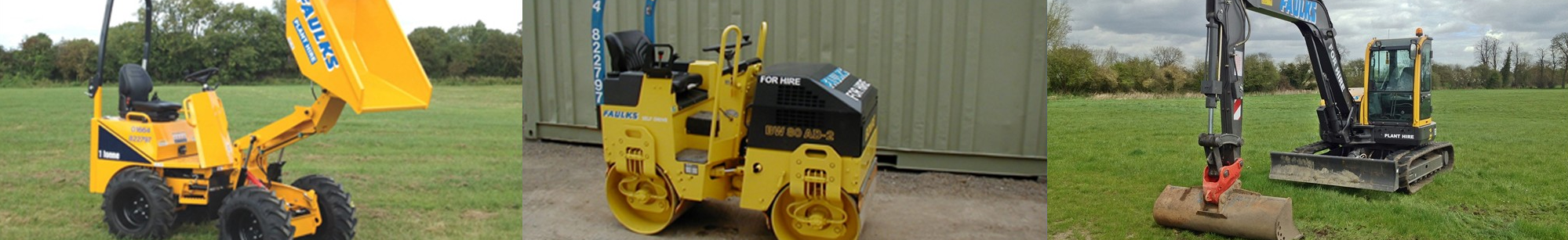 Vehicles on offer through our plant hire in Nottingham service