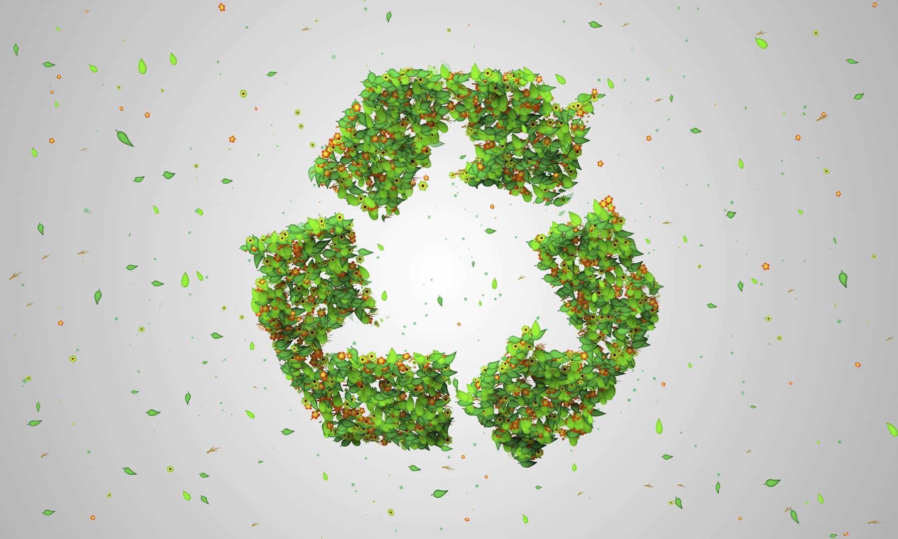 Recycle Symbol Green Leaves