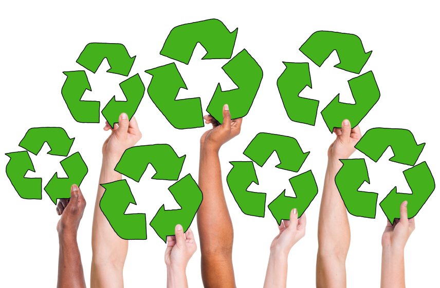 People Holding Recycling Symbol