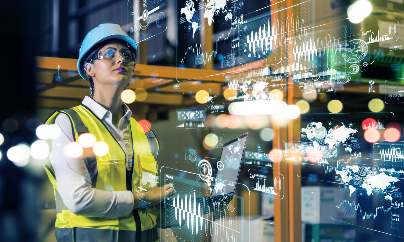 Woman working with technology at construction site